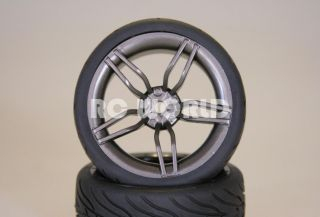 RC 1/10 CAR TIRES GUN METAL WHEELS RIMS PACKAGE KYOSHO TAMIYA HPI
