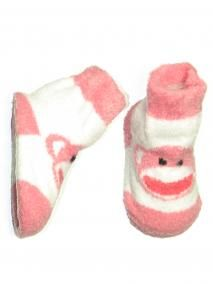 Newborn Sock Monkey Striped Booties w/Soft Elastic Top  Baby Starters