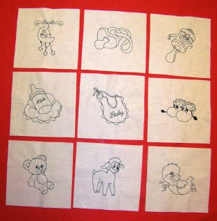 Machine Embroidered Blackwork Baby Things Quilt Blocks