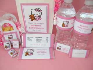 Hello Kitty Baby Shower PDF CD w/ Favor Tags Water Popcorn Candy Games