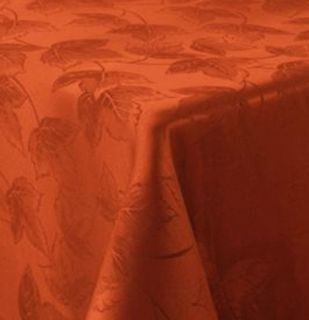 Autumn Harvest Rust Leaf Damask Fabric Tablecloth Fall Leaves
