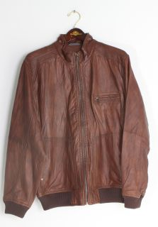 Tommy Bahama Mens Island Aviator Cognac Brown Distressed Leather