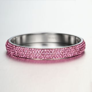 Light Rose Crystal Rhinestones Stainless Steel Bangle Bracelet