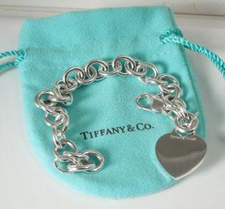 Tiffany Co Sterling Silver HEART TAG CHARM Bracelet Tiffany Pouch