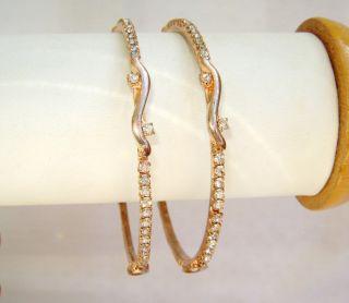 ART jewelry WHITE CRYSTAL work COPPERISH GOLD PLATED BANGLES/BRACELETS