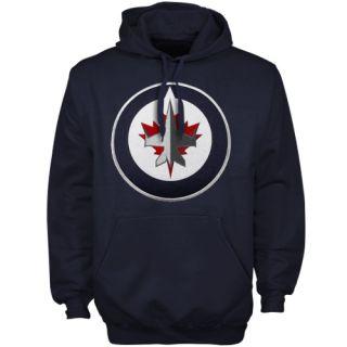 Majestic Winnipeg Jets Navy Blue Felt Tek Patch Pullover Hoodie