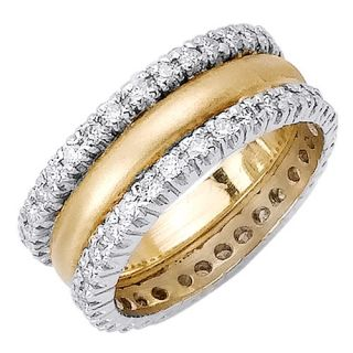 14k Two Tone Gold Diamond Wedding Band Mens Womens 1 88