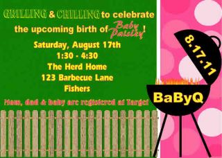 Babyq Barbecue Boy Girl Baby Shower Sprinkle Couples Invitation Pink