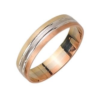 Mens Womens 14k Tri Color Gold Wedding Band Ring 5 Mm