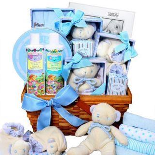 Baby Boy Blue Newborn Gift Basket Footprint Keepsake Rattle Frame