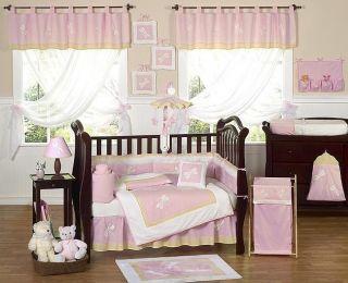 PINK DRAGONFLY BUG BABY BEDDING 9pc CRIB SET FOR NEWBORN GIRL BY JOJO