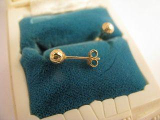 Yellow Gold Ball STUD EARRINGS 4mm BALL Diamond Cut STARBURST Earring