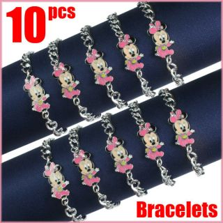 Bulk 10 pcs Baby Shower Minnie Mouse Metal Charm Bracelets Birthday