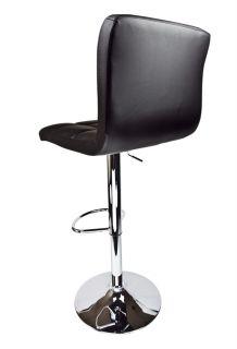 Swivel Bar Stool Black Elegant PU Leather Modern Adjustable