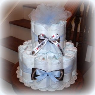 Football Diaper Cake Baby Shower Centerpiece Gift Boy Blue Sports