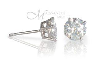 30 Ct Moissanite Earrings Round White Gold Stud 5 5mm