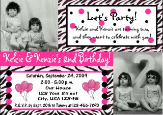 12 Zebra Print Pink Birthday Photo Invitations Twins