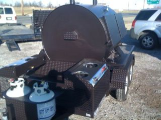 48x60 Rotisserie BBQ Smoker w Trailer 10 Shelf Unit Gas