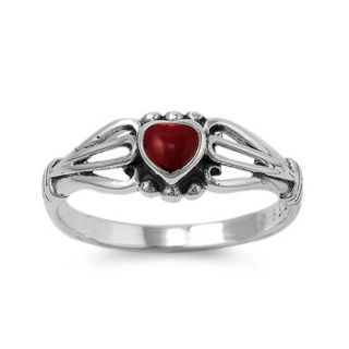 Sterling Silver Ring Size 7 Red Heart Coral Solitaire Womens Love