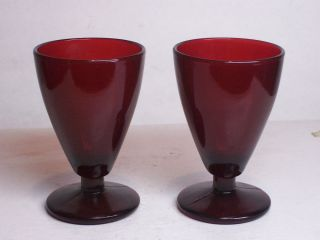 Vintage Anchor Hocking Royal Ruby Red Glass Footed 2.5 oz Wine