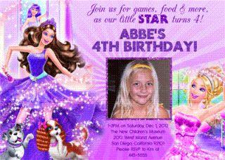 Barbie Custom Photo Birthday Invitations Many Designs