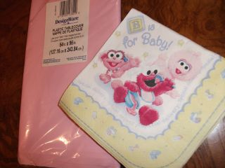 16 Baby Shower Napkins Pink Plastic Tablecover Set Sesame Street Elmo