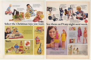 1968 Mattel Christmas Toys Barbie Dolls Hot Wheels 6 Page Ad