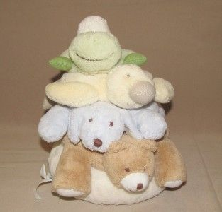 11 Pottery Barn Kids Plush Critter Stacker Bear Dog Duck Frog Rings