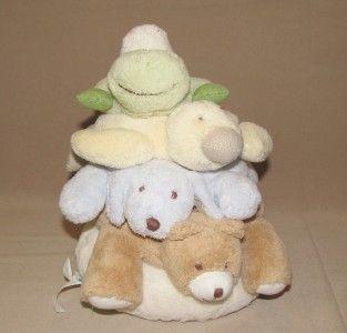 11 Pottery Barn Kids Plush Critter Stacker Bear Dog Duck Frog Rings
