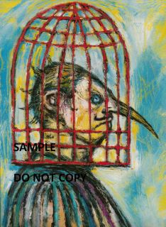 Clive Barker Art Hellraiser Print Caged Head Bird Cage Nose Monster