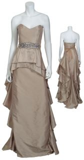 Badgley Mischka Marvelous Strapless Gold Rhinestone Belted Gown Eve