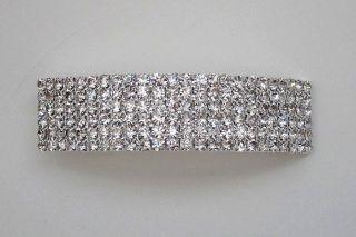 Barrette 02 Hair Barrette 144pc Rhinestone Silver Crystal White Clear