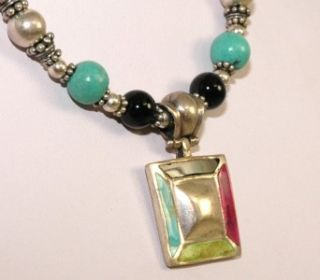 Vintage Barse 925 Sterling Silver Turquoise Onyx Gaspeite Crystal