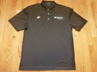 Sap Open Tennis Polo Shirt New w O Tags Black Yonex Medium Federer