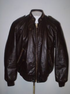 50s 60s William Barry Cafe Racer Leather Jacket Brn L