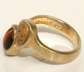 Vintage Barse Gold Over 925 Sterling Silver Tigers Eye & Jasper Ring
