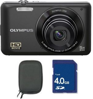 Olympus VG 140 14MP 5X Wide Zoom Digital Camera 4GB SD + Case Black