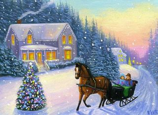 Horse Sleigh House Christmas Tree Winter Snow Landscape Original ACEO