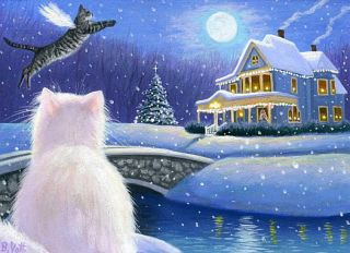 Cat Angel Christmas Tree House Moon Winter Landscape Original ACEO