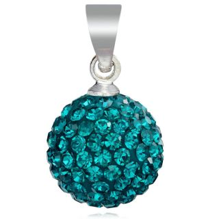 Fashion Jewelry Indicolite Pave Crystal Ball Pendant Necklace