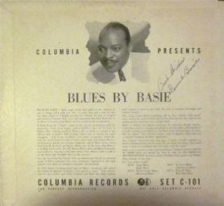 Vintage Count Basie Deceased Auto on 78rpm Album Jacket Blue Fountain