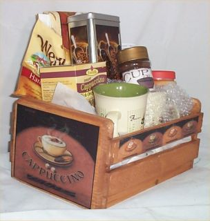 Gift Basket Coffee Latte Cafe Gift 2 Mugs Candy Crate W