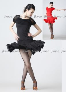 Latin Ballroom Dance Dress Top Skirt Salsa Tango Ruffle ChaCha Dance