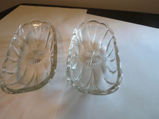 Clear Glass Banana Split Boat Ice Cream Dish Scalloped Edge