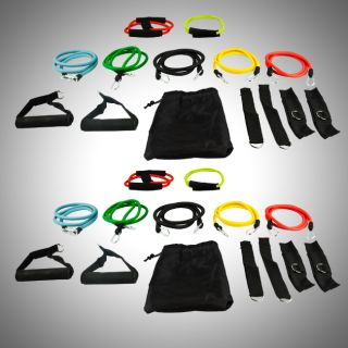 Heavy Duty Resistance Band Fitness Gym Exercise Workout Double Set