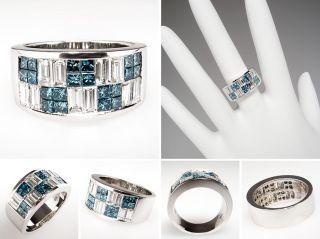 Blue & White Diamond Wide Band Ring 14K White Gold skuwm7861