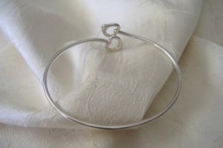 Tiffany Co Sterling Silver Open Heart Bangle Bracelet