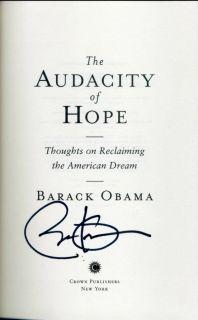 Barack Obama President signed hardcover The Audacity of Hope
