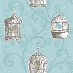 417403 Arthouse Opera Skylark Wallpaper. Teal Blue Bird Cage Trail