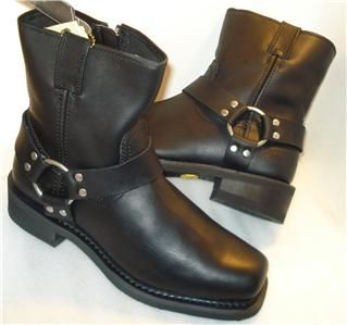 Bates Mens Harness Boots Black Side Zipper Riding Boot US Sz 7
